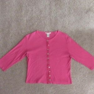 Sweaters - Petite Women's Hot Pink Button Up Cardigan